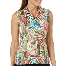 Coral Bay Golf Petite Sleeveless Tropical Bird Polo Shirt