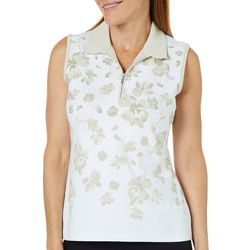 Coral Bay Golf Petite Sleeveless Tropical Floral Polo Shirt