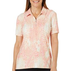Coral Bay Golf Petite Scale Print Short Sleeve Polo Shirt