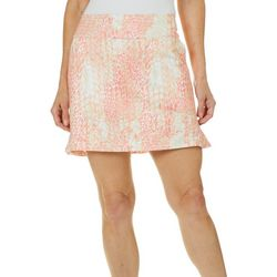 Coral Bay Golf Petite Scale Print Pull On Flounce Skort