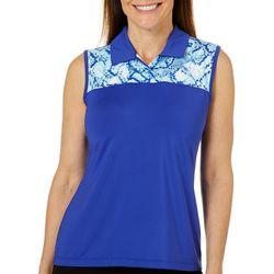 Coral Bay Golf Petite Snake Print Sleeveless Polo Shirt