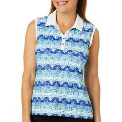 Coral Bay Golf Petite Boho Striped Sleeveless Polo Shirt