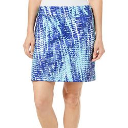 Coral Bay Golf Petite Abstract Blocks Pull On Skort