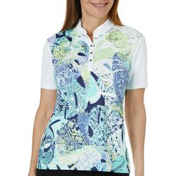 Coral Bay Golf Petite Layered Leaves Short Sleeve Polo Shirt