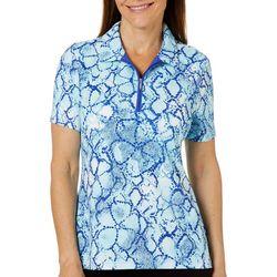 Coral Bay Golf Petite Snake Print Short Sleeve Polo Shirt