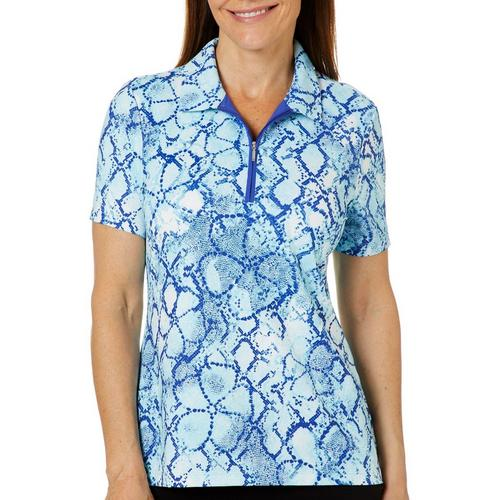 618d327bee1 Coral Bay Golf Petite Snake Print Short Sleeve Polo Shirt