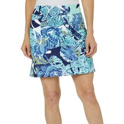 Coral Bay Golf Petite Layered Leaves Pull On Skort