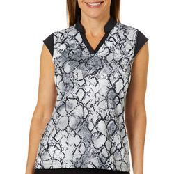 Coral Bay Golf Petite Snake Print Cap Sleeve Polo Shirt