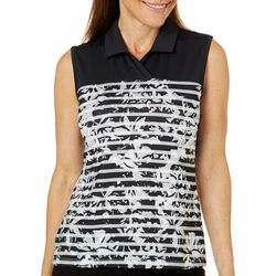 Coral Bay Golf Petite Floral Striped Sleeveless Polo Shirt