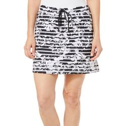 Coral Bay Golf Petite Floral Striped Drawstring Skort