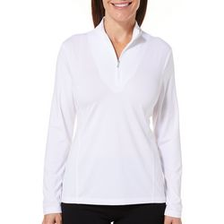 Coral Bay Golf Petite Solid Zipper Mock Neck Top