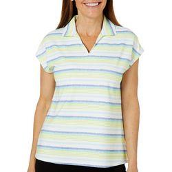 Coral Bay Golf Petite Striped Short Sleeve Polo Shirt