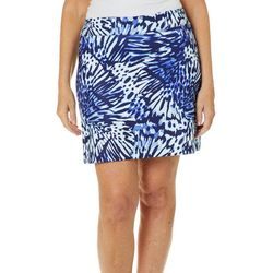 Coral Bay Golf Petite Butterfly Wing Print Pull On Skort