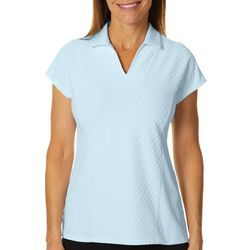 Coral Bay Energy Petite Solid Textured Short Sleeve Shirt