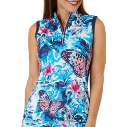 Coral Bay Golf Petite Butterfly Hibiscus Golf Polo Shirt