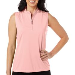Coral Bay Golf Petite Solid Sleeveless Polo Shirt