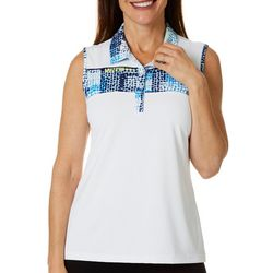 Coral Bay Golf Petite Dotted Grid Sleeveless Polo Top