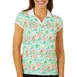 Coral Bay Golf Petite Flamingo Paradise Polo Shirt