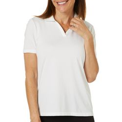Coral Bay Golf Petite Solid Short Sleeve Polo Shirt