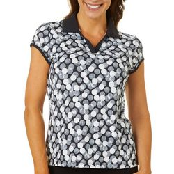Coral Bay Golf Petites Dot Geo Polo Shirt