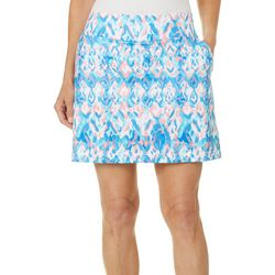 Coral Bay Golf Petite Ikat Printed Pull On Skort