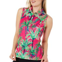 Lillie Green Petite Sleeveless Swaying Palm Trees Polo Shirt