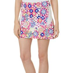 Lillie Green Womens Muted Geo Mesh Insert Pull On Skort