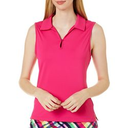 Lillie Green Petite Solid Sleeveless Back Mesh Polo Shirt