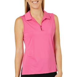 Lillie Green Petite Solid Sleeveless Polo Shirt