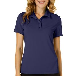 Lillie Green Petite Solid Short Sleeve Polo Shirt