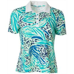 Coral Bay Golf Petite Animal Print Polo Shirt