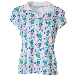 Petite Floral Print Polo Shirt