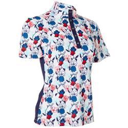 Petite Americana Floral Snap Short Sleeve Top
