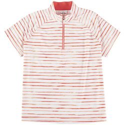 Coral Bay Golf Petite Orange Stripes Polo Shirt