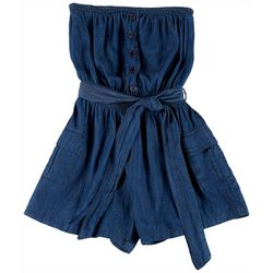 Dollhouse Juniors Denim Tie Button Romper