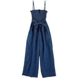 Dollhouse Juniors Denim Tie Smocked Jumpsuit