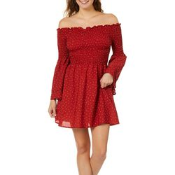 Inspired Hearts Juniors Polka Dot Off The Shoulder Dress