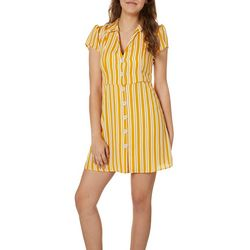 Inspired Hearts Juniors Striped Button Down Dress