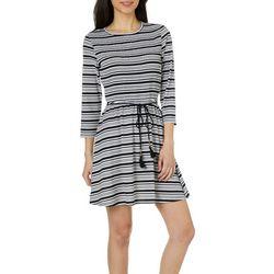 Inspired Hearts Juniors Striped Tassel Tie Waist Dress