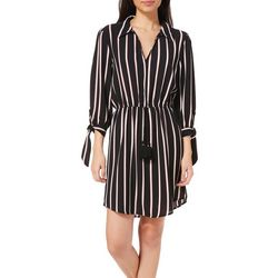 Inspired Hearts Juniors Striped Tie Sleeve Shirtdress