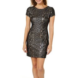 Inspired Hearts Juniors Shimmer Lace Sheath Dress