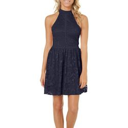 Inspired Hearts Juniors Crochet Lace Fit & Flare Dress