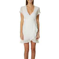 Inspired Hearts Juniors Solid Eyelet Faux Wrap Ruffle Dress