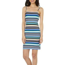 Poof Juniors Striped Open Tie Back Sundress
