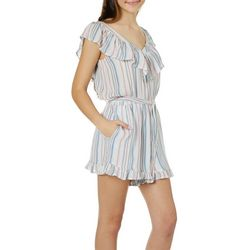 Poof Juniors Belted Striped Ruffle Trim Romper