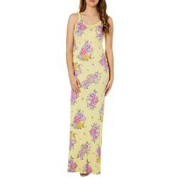 Poof Juniors Floral Print Lattice Back Maxi Dress