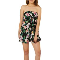 Poof Juniors Tropical Floral Tie Front Strapless Romper
