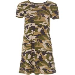 Poof Juniors Short Sleeve Camo T-Shirt Dress