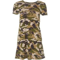 Juniors Short Sleeve Camo T-Shirt Dress