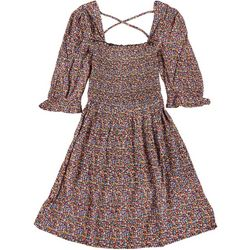 Patrons of Peace Juniors Floral Babydoll Smocked Dress